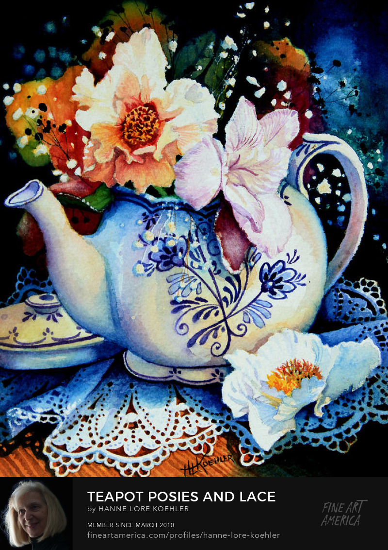 Still Life Painting O Flowers In A Teapot With Lace