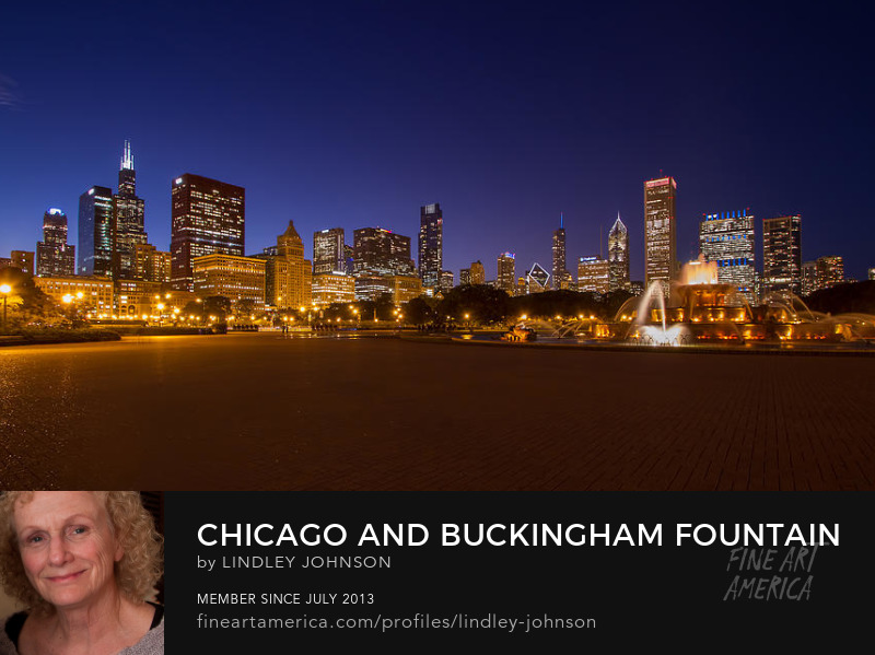 chicago and buckingham fountain at twilight by lindley johnson