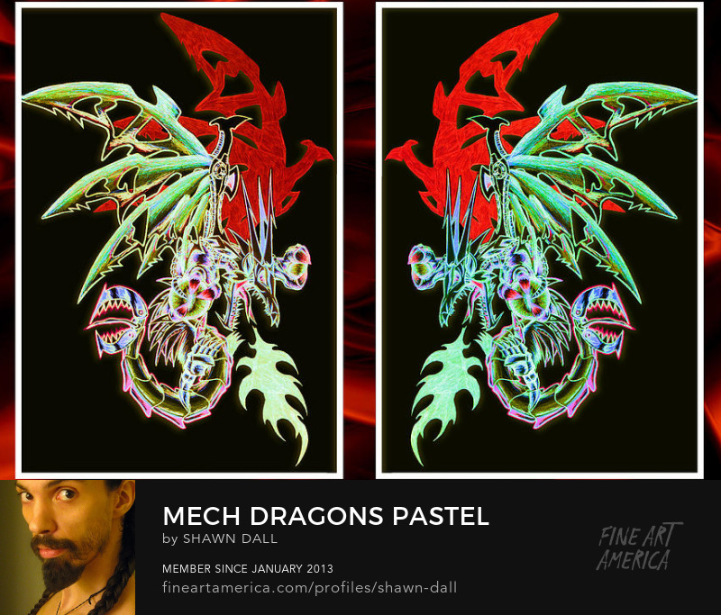 Mechanical Dragons Red Pastel Tattoo Digital Painting by Shawn Dall