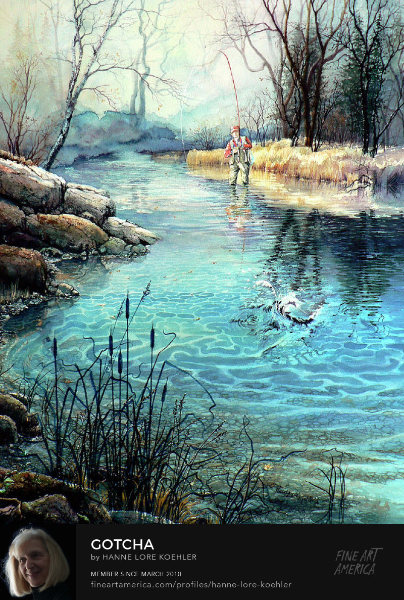 Fisherman In Stream Painting And Art Prints