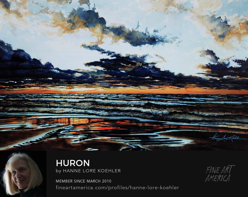 Lake Huron Storm Cloud Sunset Painting