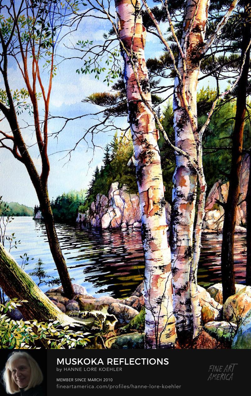 Muskoka Lake Cliff Tree Reflections Painting