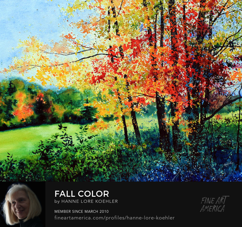 Painting Of Colorful Autumn Maple Trees