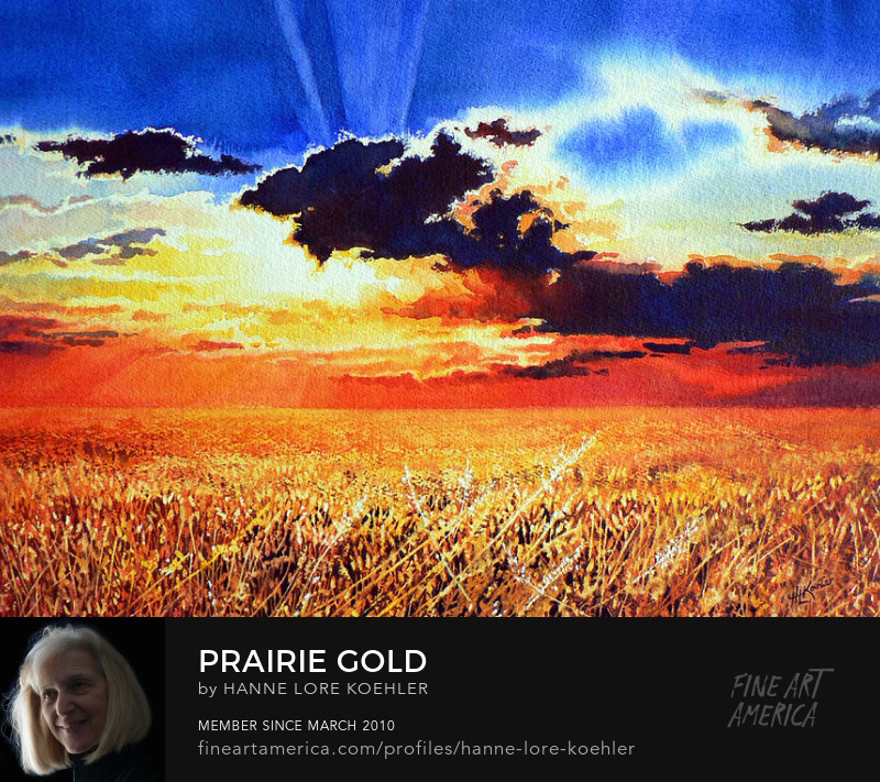 Painting Of Stormcloud Sunset On Golden Prairie Wheatfield