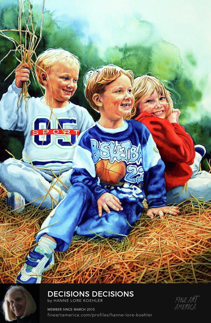 Painting Of Children Playing playing On A Hay Bale