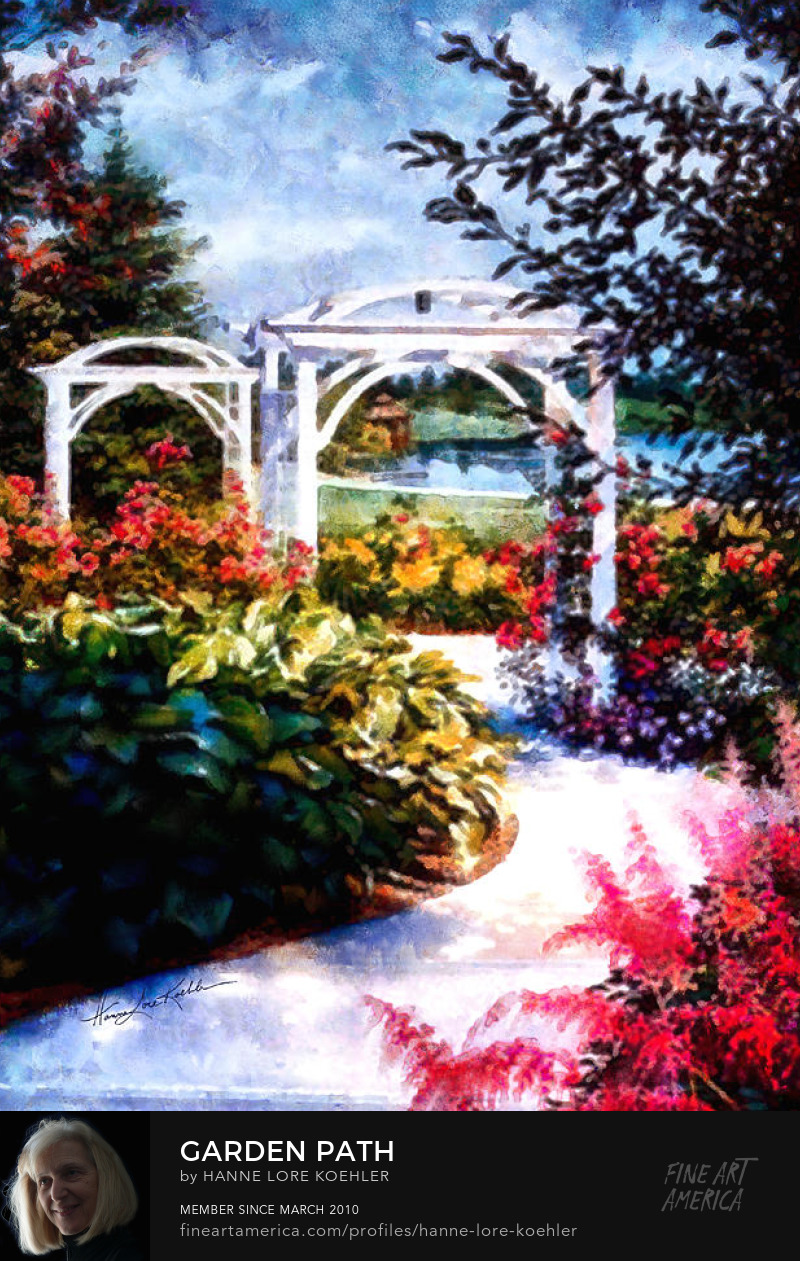 Painting Of Flower Garden Path and Climbing Rose Arbor