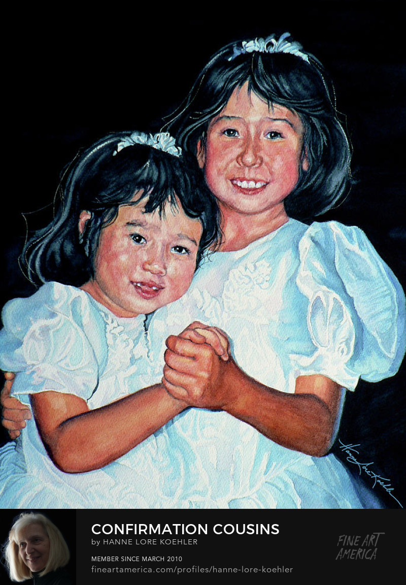 Confirmation Portrait painting Of Two Girls