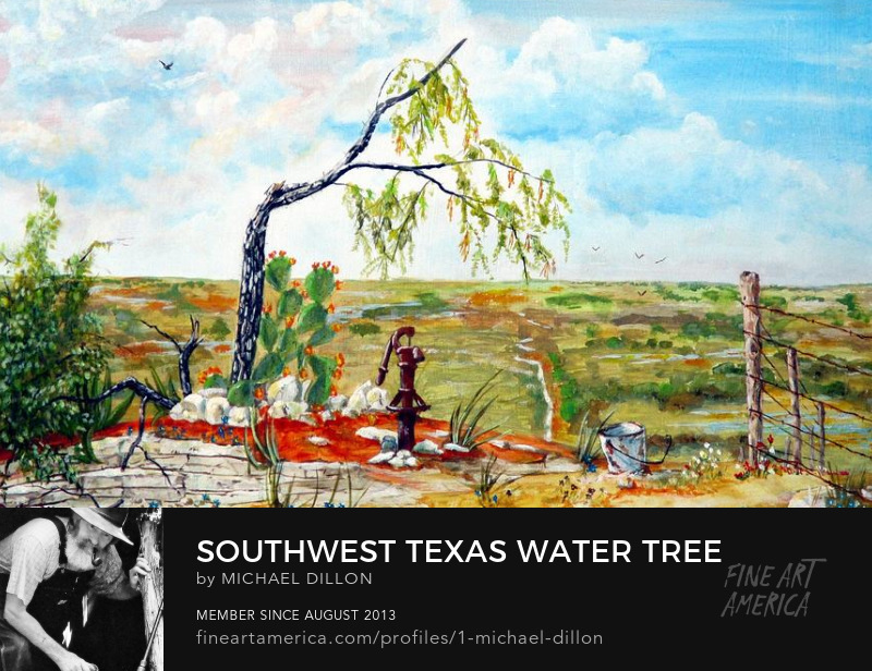 Southwest landscape with mesquite tree and water pump acrylic