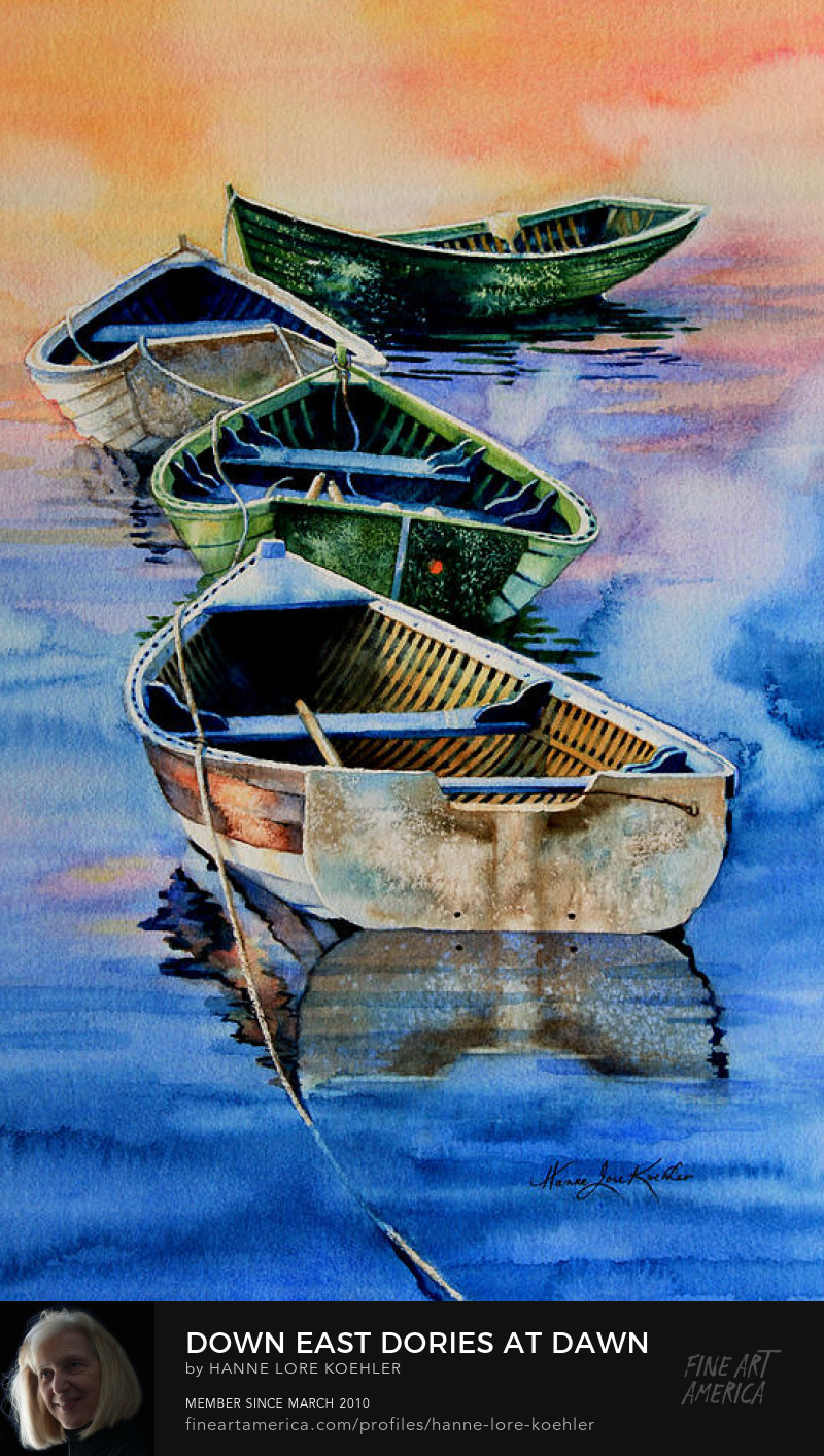 Painting Of Dories Floating In Misty Sunrise