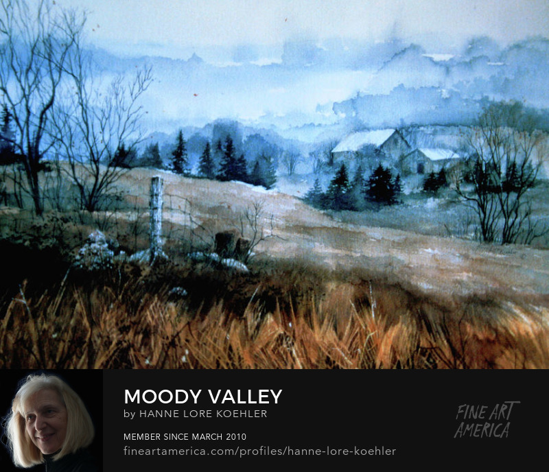 Painting Of A Misty Moody Spring Farm Valley