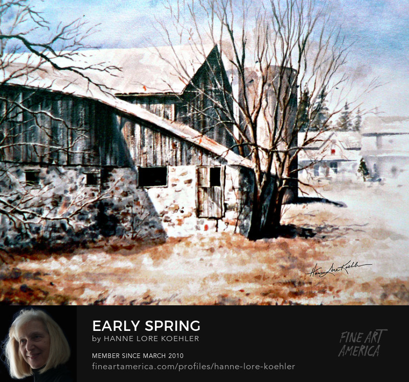 Early Spring Barn And Farmhouse Painting