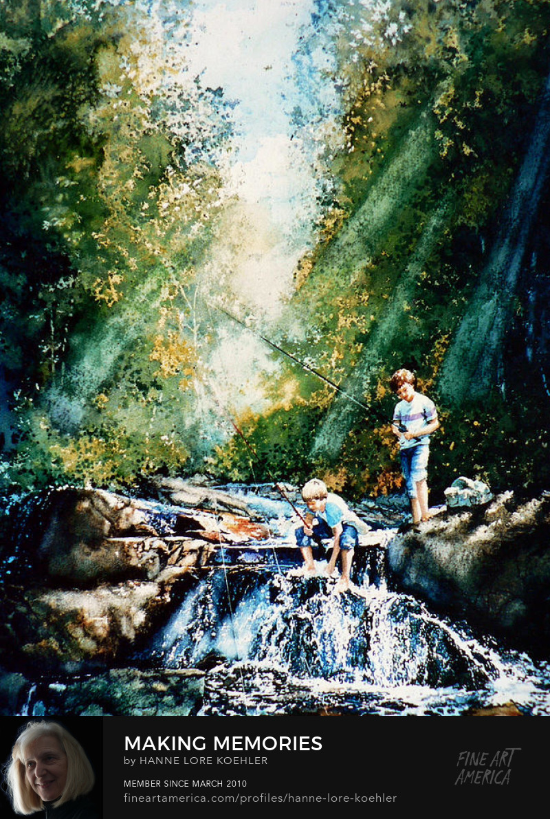 Boys Fishing in Woodland Creek Art Prints