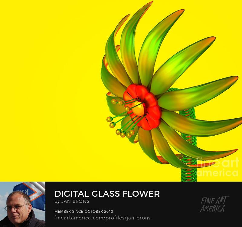 Digital Glass Flower - Art Prints