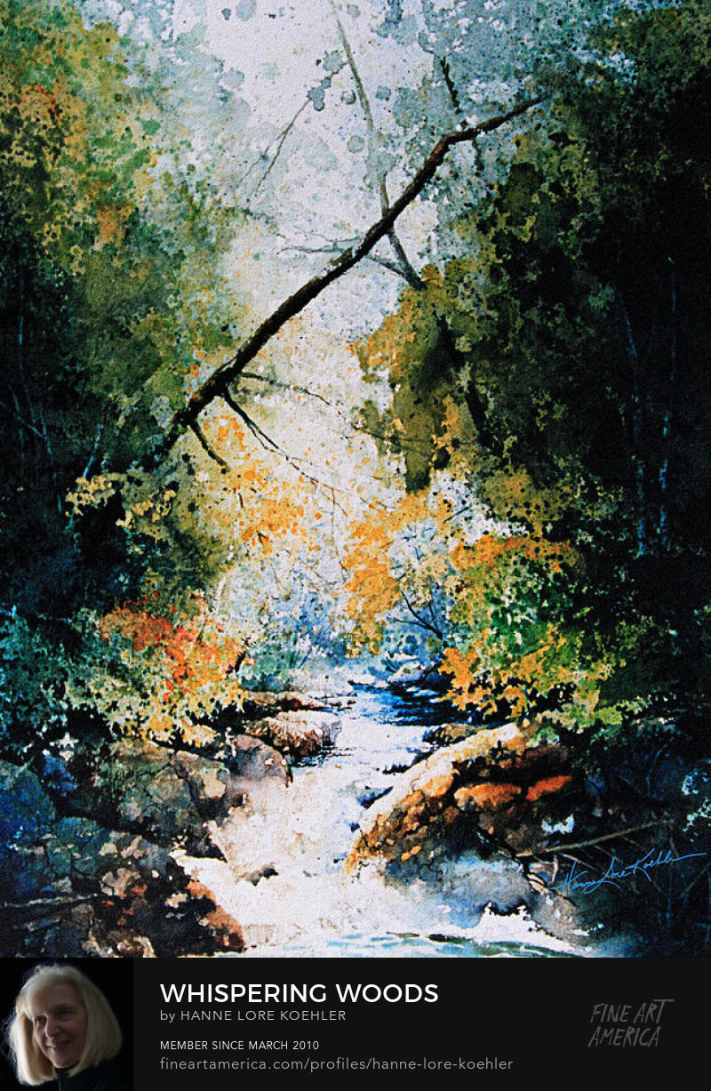 Summer Painting Of A Creek In The Woods