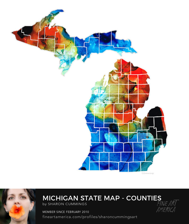 Michigan State Map Buy Art Prints Online