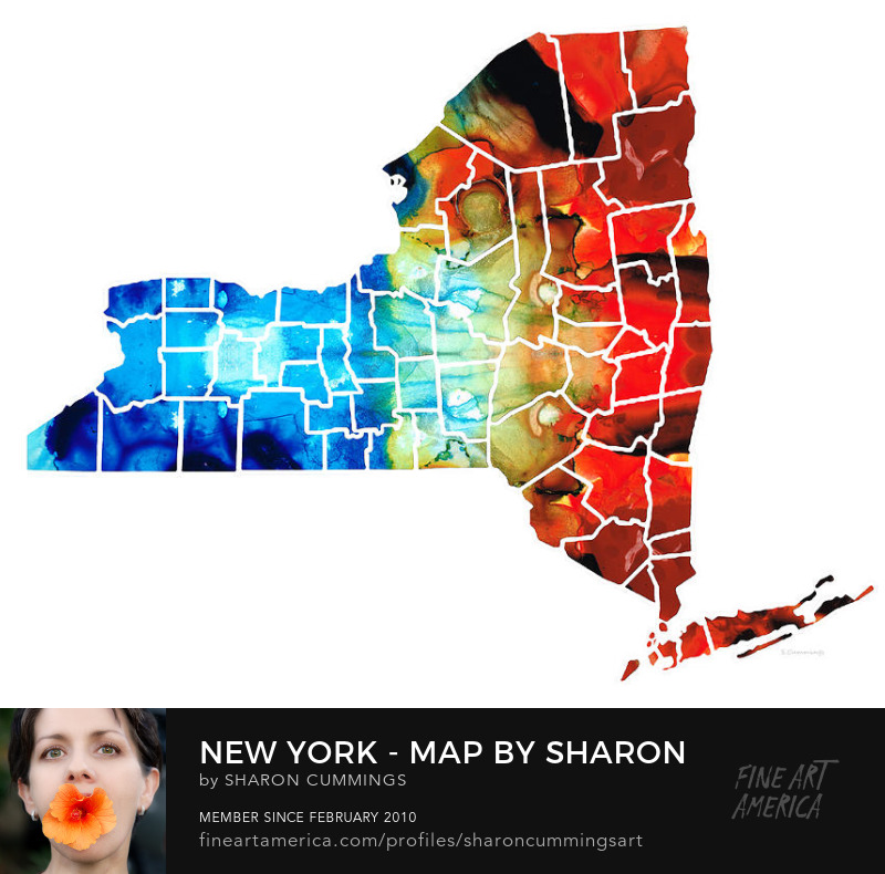 Maps of New York State Wall Art