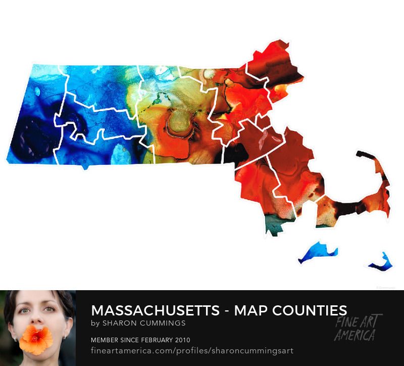 Buy Maps Massachusetts State Art Prints Sale