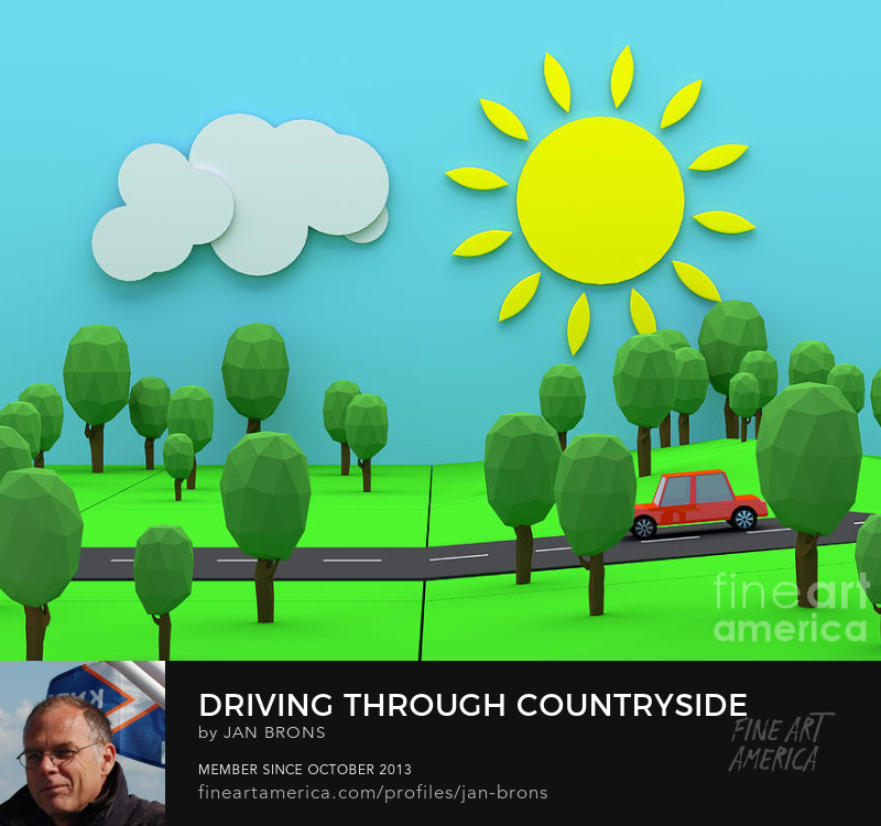 Driving through countryside - Art Prints