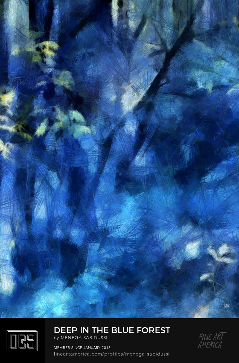 Deep In The Blue Forest Digital Art Painting menega Sabidussi