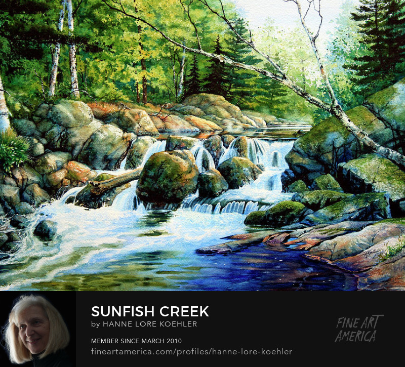Forest Creek Painting Art Prints