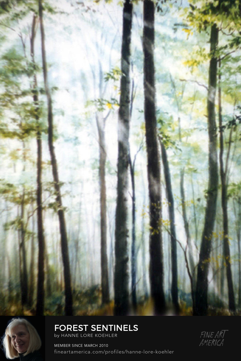 Painting Of Sunlight Streaming Through Forest