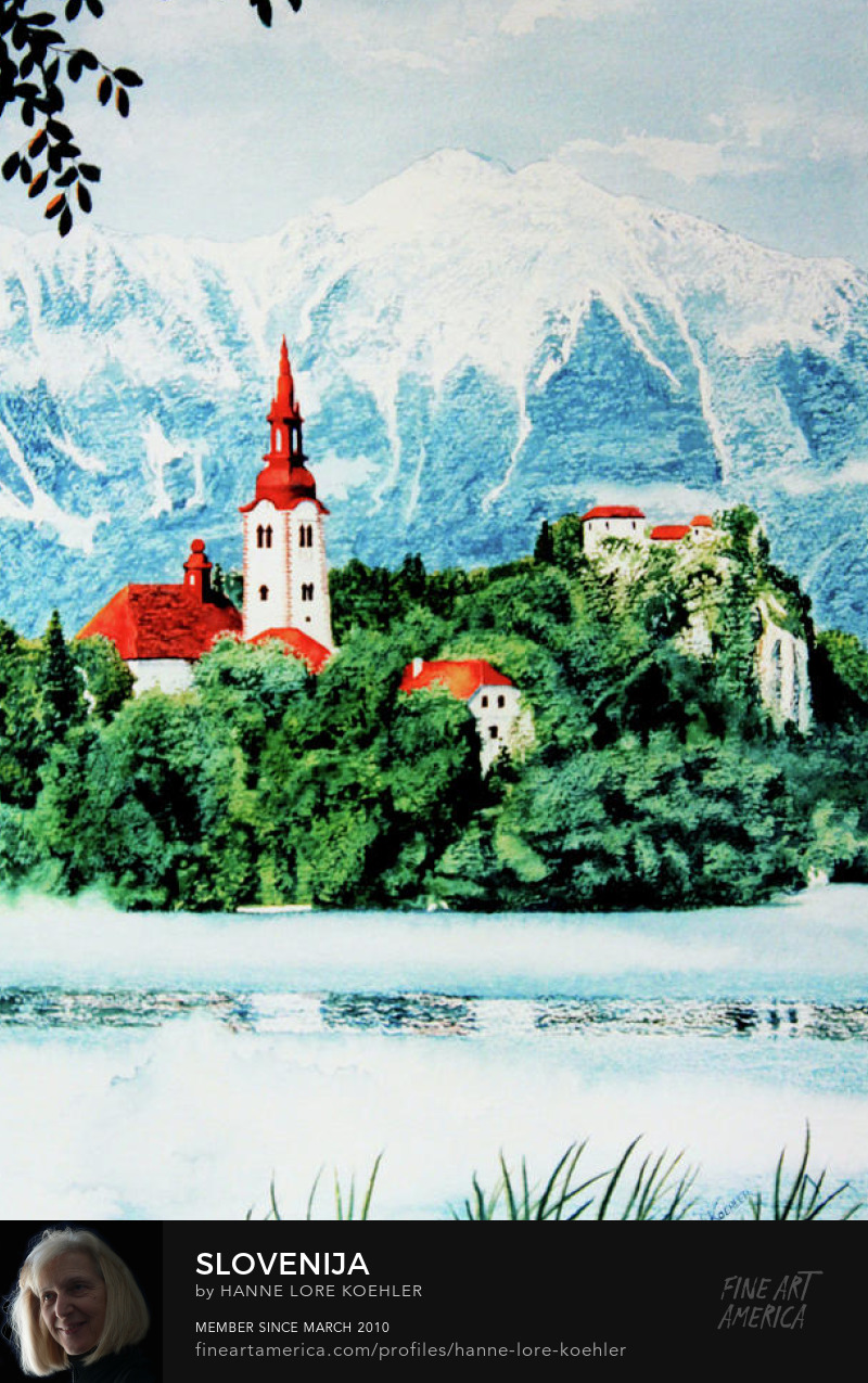 Bled Lake Slovenija Painting