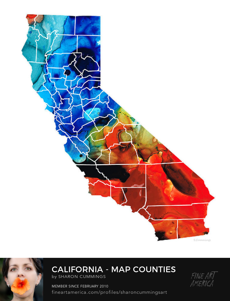 California Art State Buy Maps Colorful Canvas