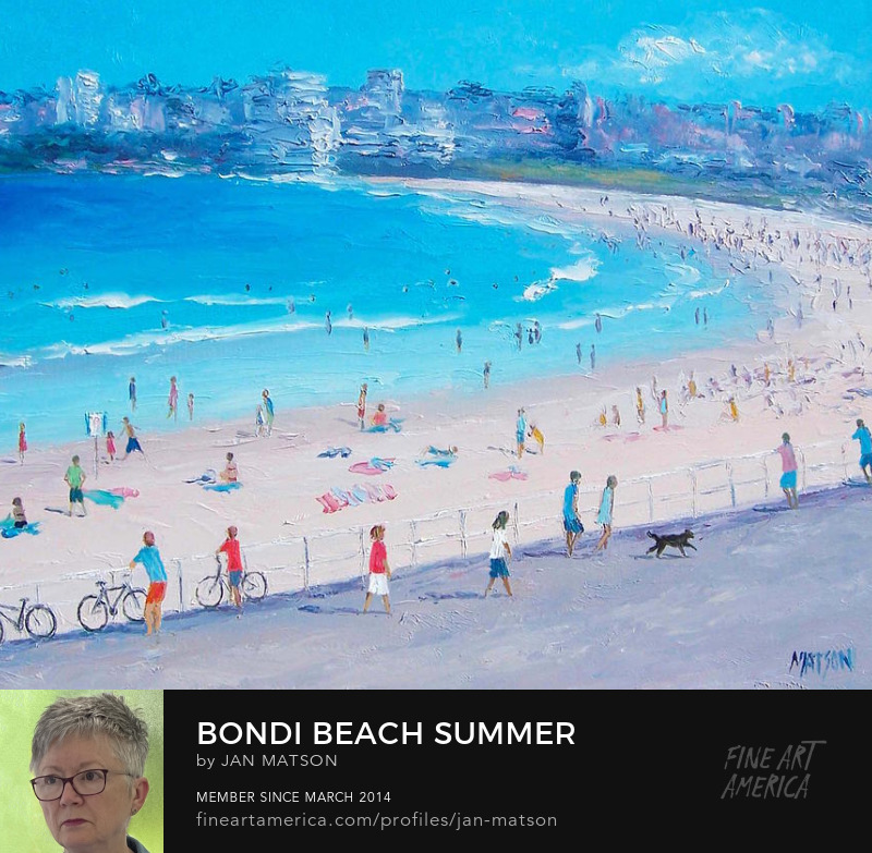 Oil painting of Bondi Beach with crowds of people.