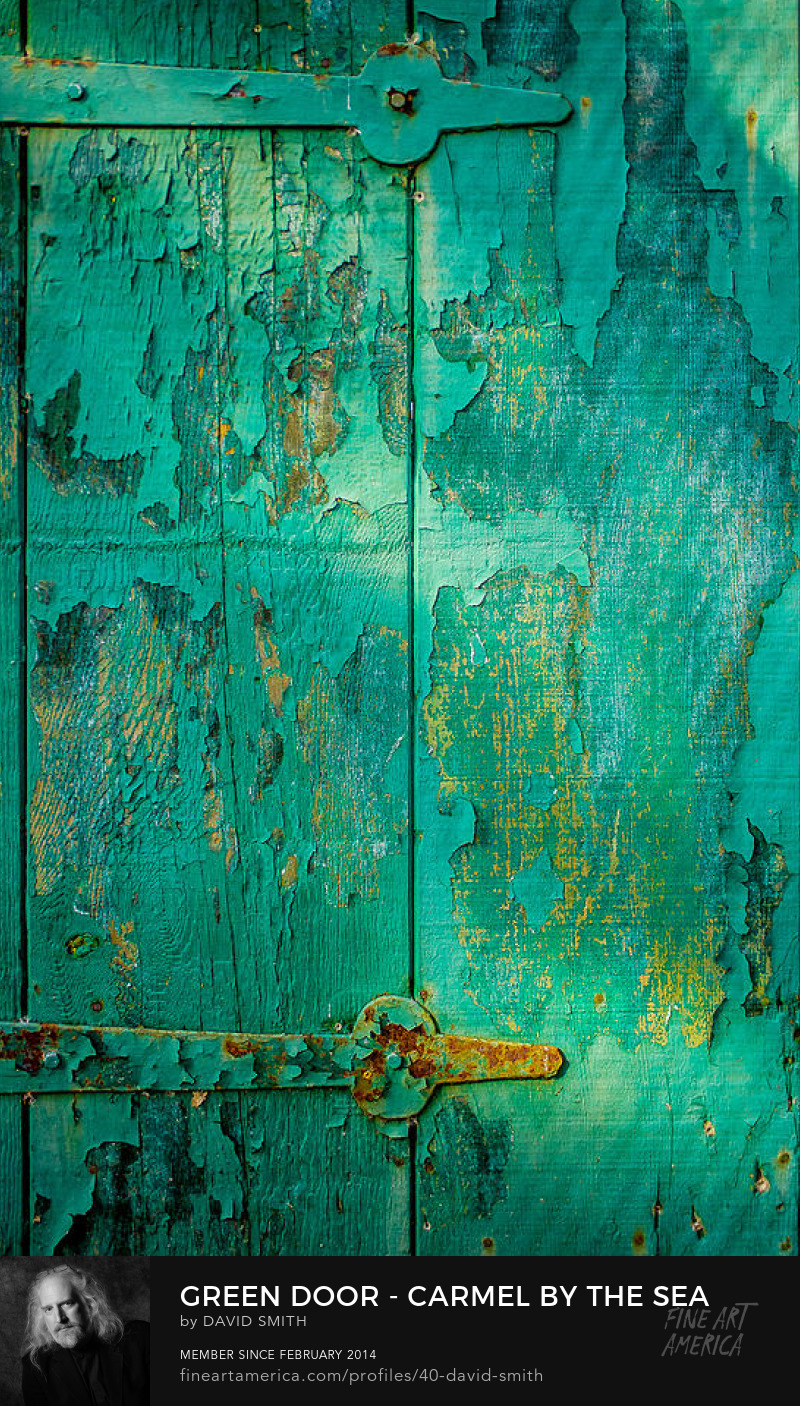 Fine Art Photograph of Old green painted door in Carmel by the Sea, California.