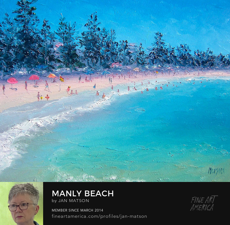 An oil painting of Manly Beach in Sydney, Australia