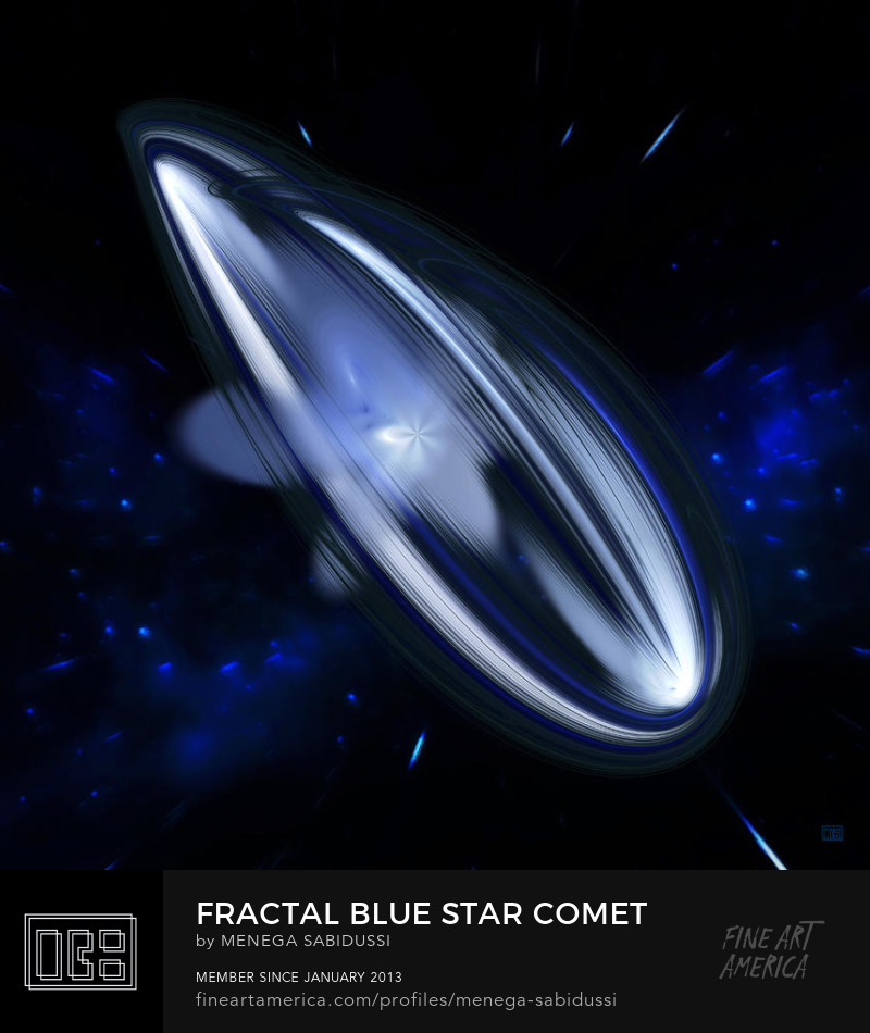 Blue Star Comet Square Fractal Art Menega Sabidussi