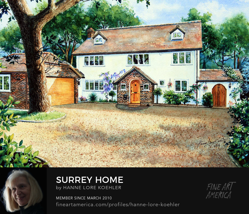 Surrey England UK House Portrait Painting Commission