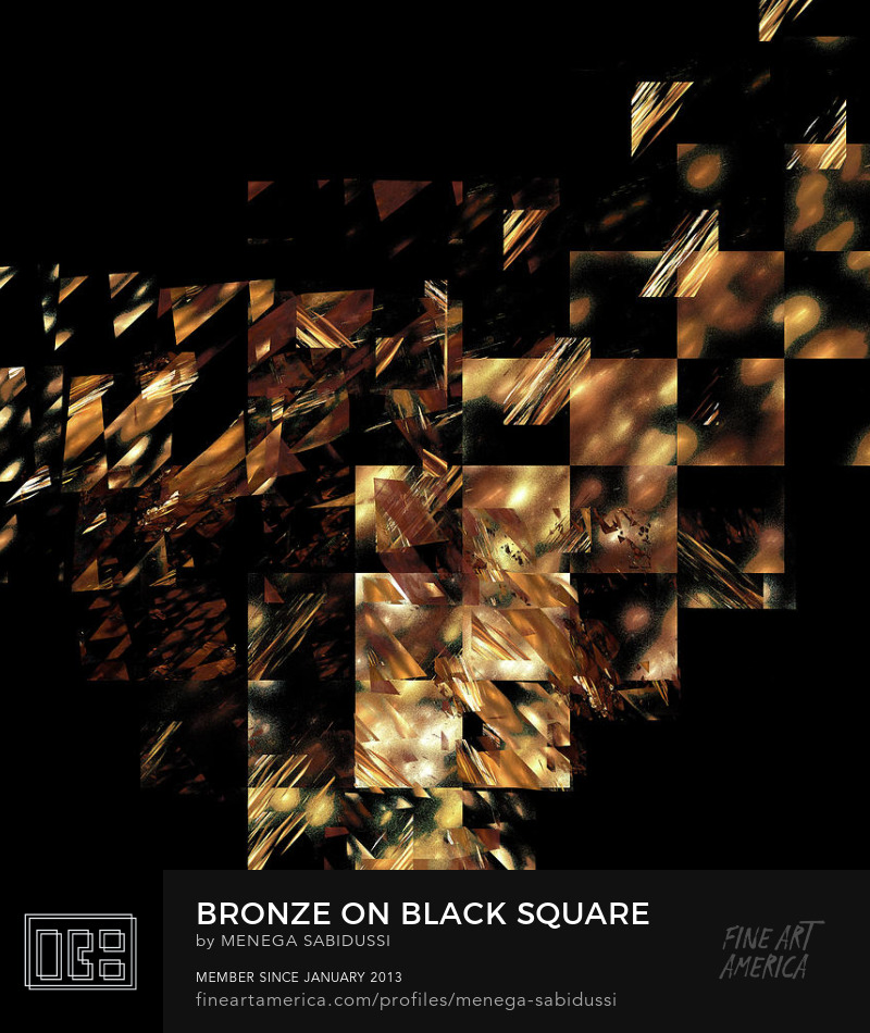 Bronze On Black Square Fractal Abstract Menega Sabidussi