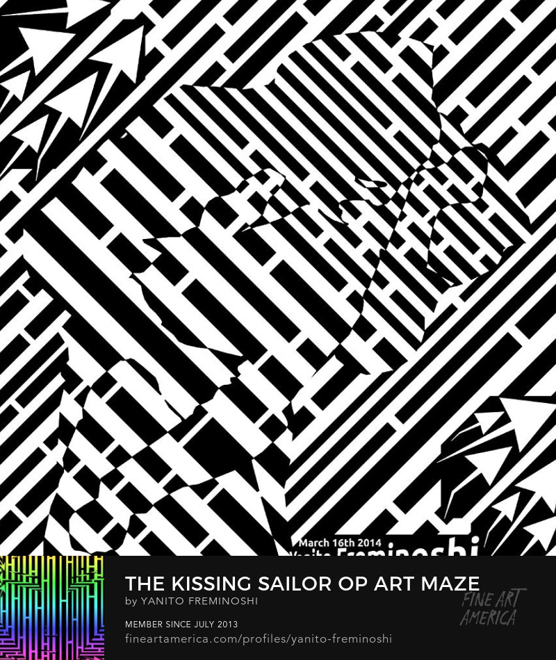 Alfred Eisenstaedt kissing sailor as maze