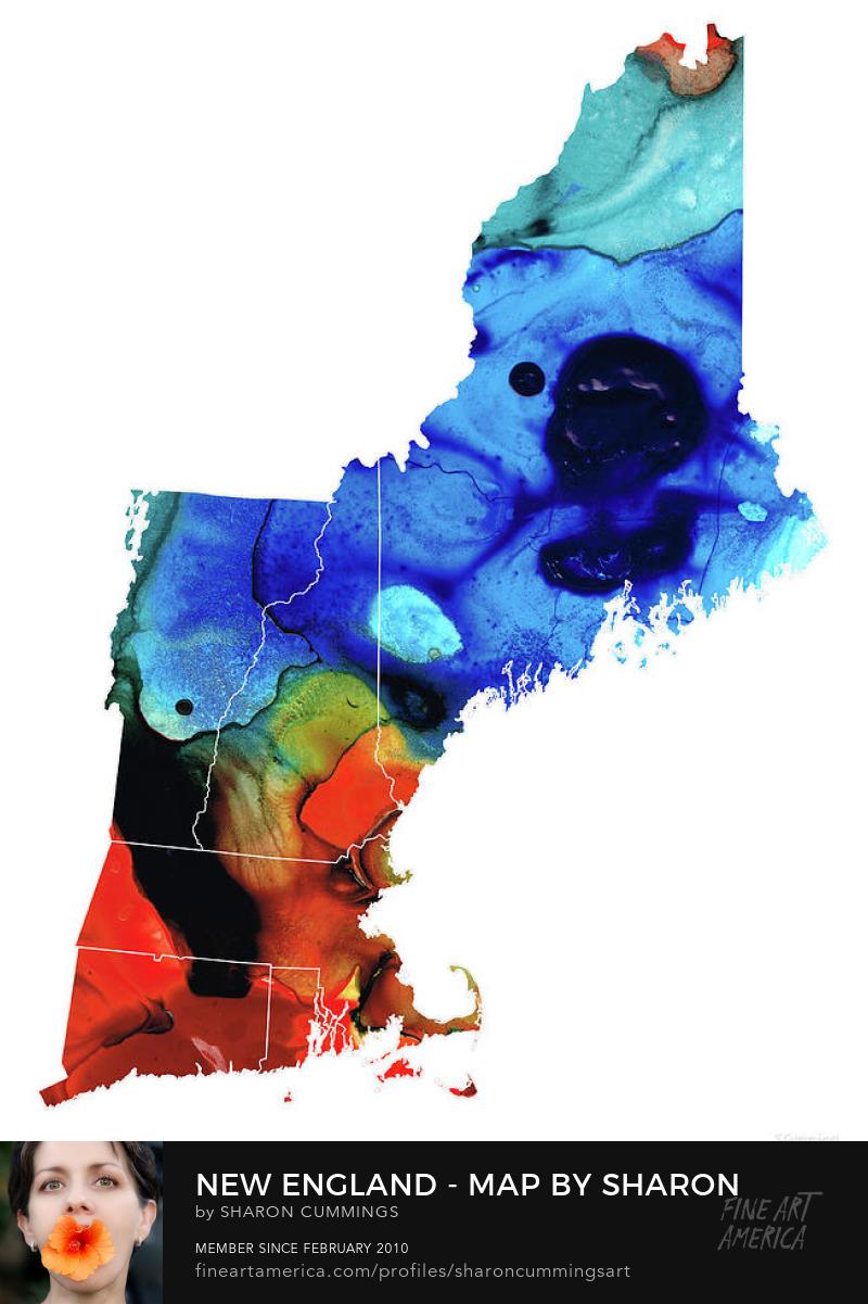 New England Art Maps Home Decor Prints