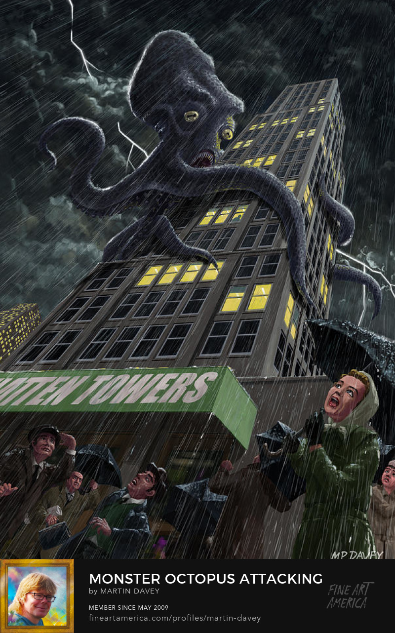 Monster Octopus Attacking Building In Storm-art m p davey