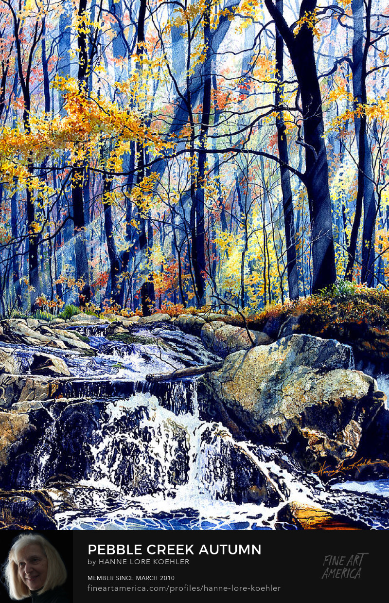 Autumn Forest creek waterfall landscape painting