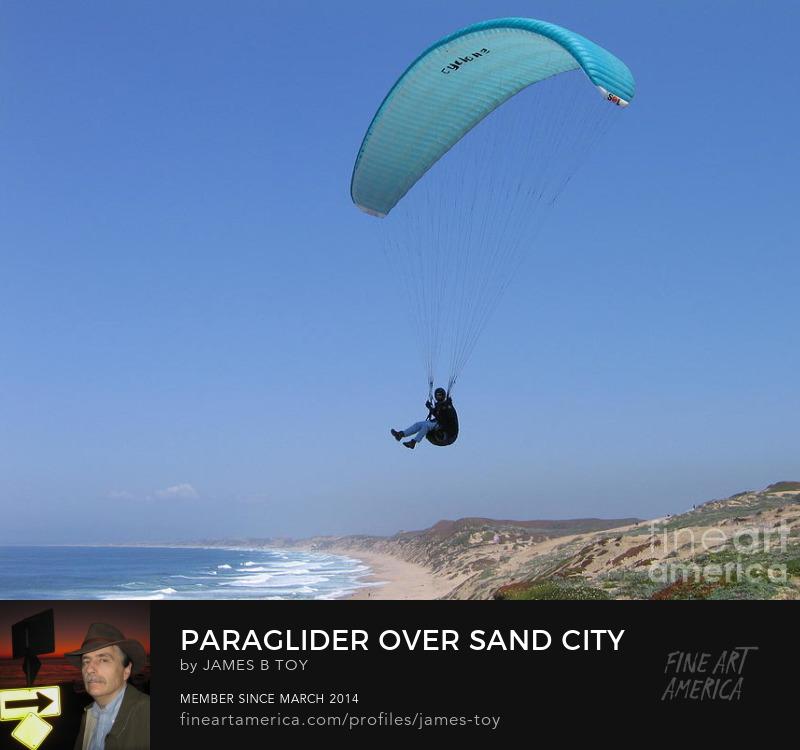 Paraglider over Sand City at Monterey Bay