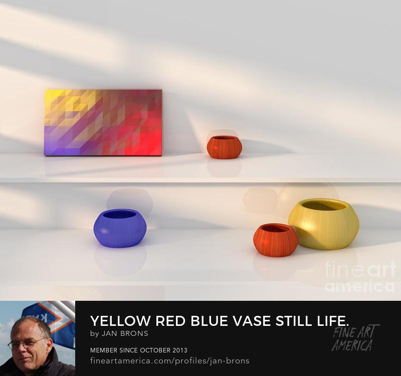 Sell Art Online - Yellow red blue vase still life