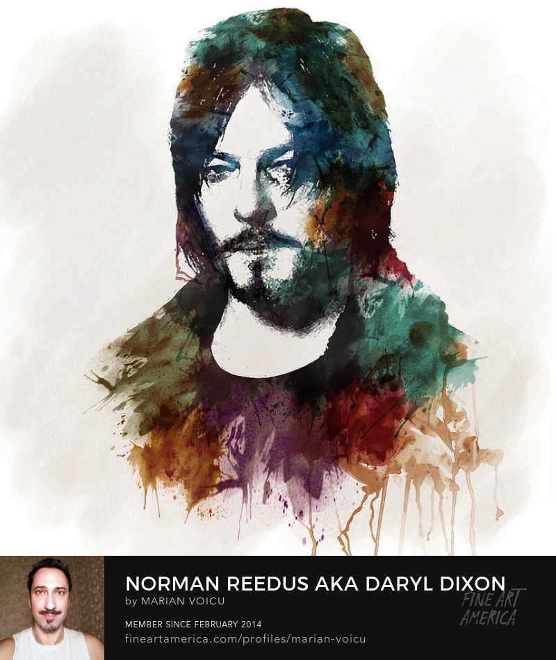 Watercolor digital painting of Norman Reedus for sale