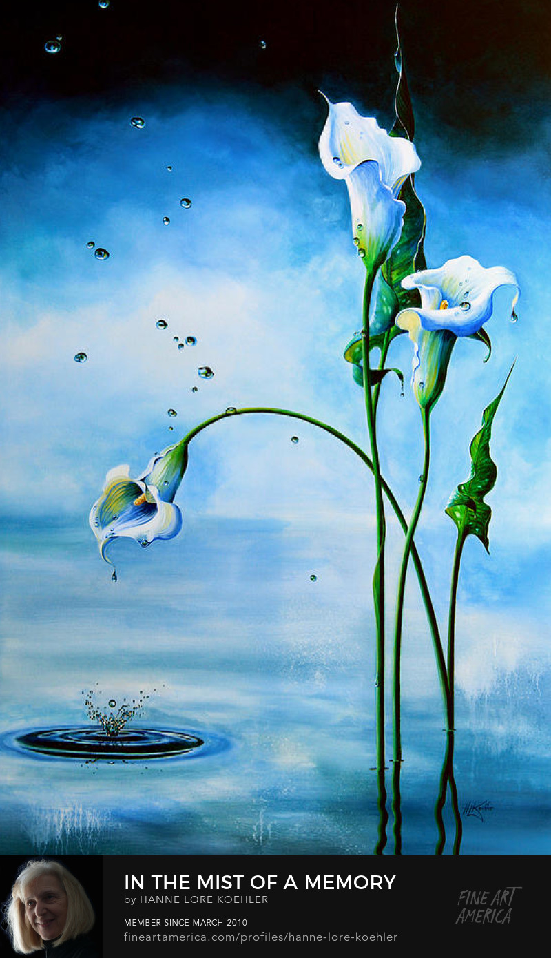 Painting Of Calla Lilies In A Misty Pond