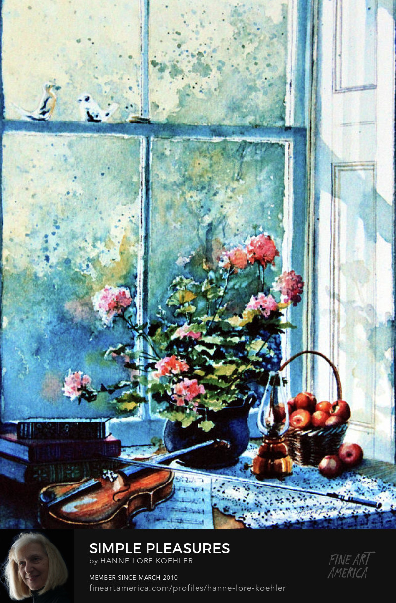 Painting Of Violin And Flowers In Window Sunshine
