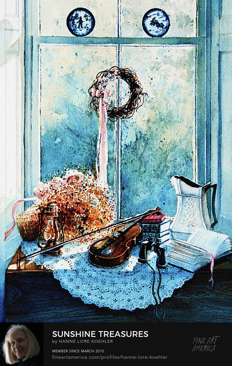 Still Life Painting Of Violin And Objects