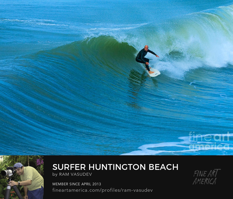 Surfing in Huntington Beach California by Ram Vasudev