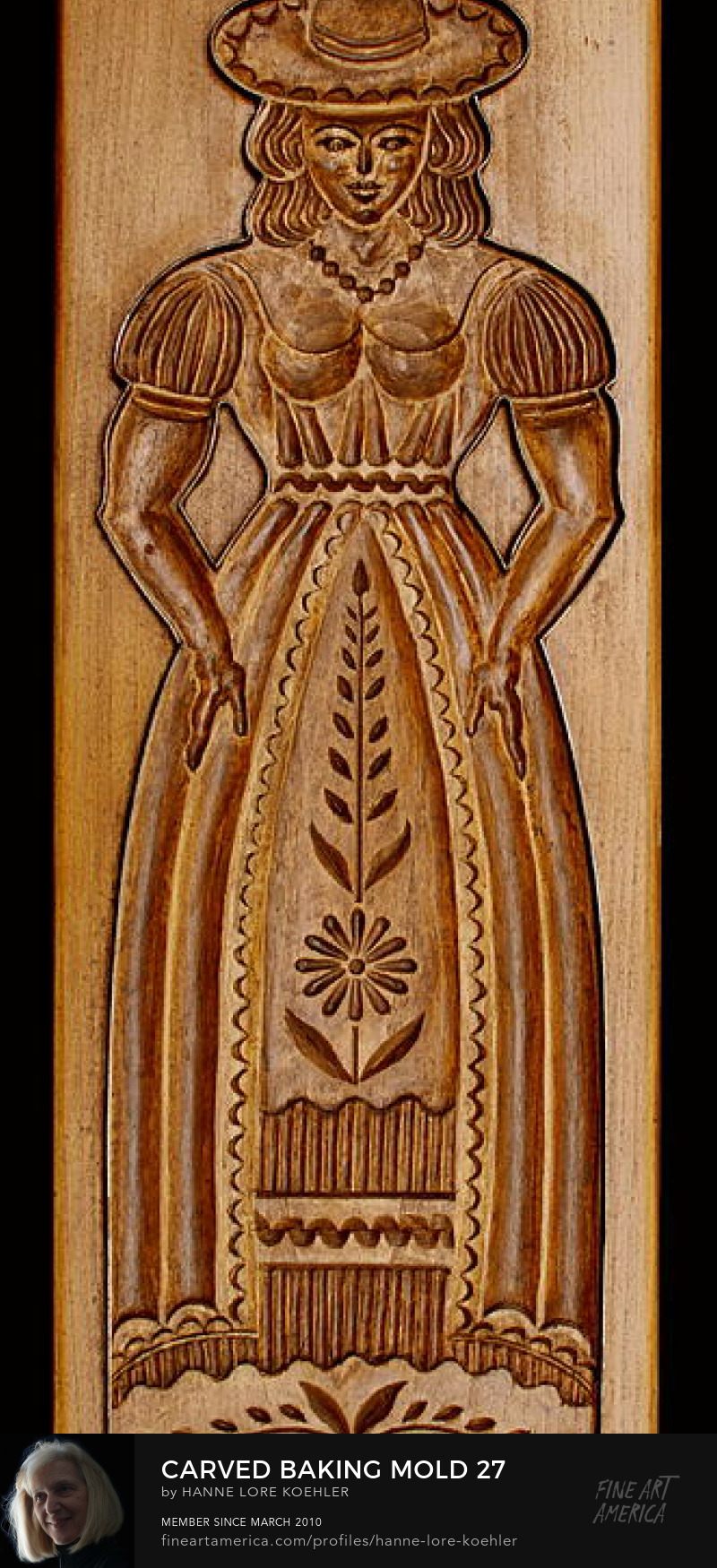 Art Prints of hand-carved wood Gingerbread Woman Cookie mold
