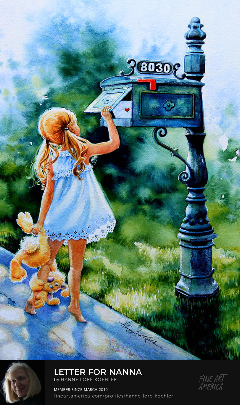 Painting Of Little Girl And Dog Mailing Letter