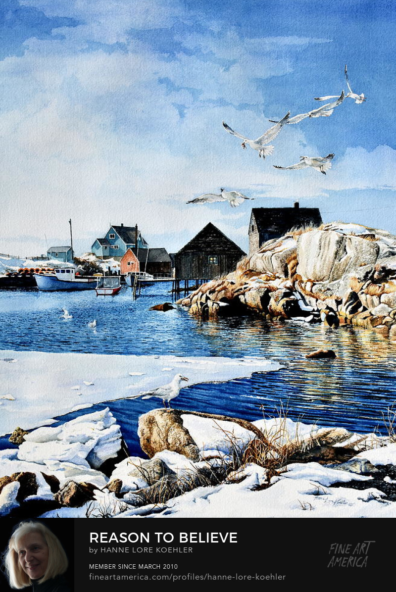 Landscape Painting Of Peggy's Cove in Winter