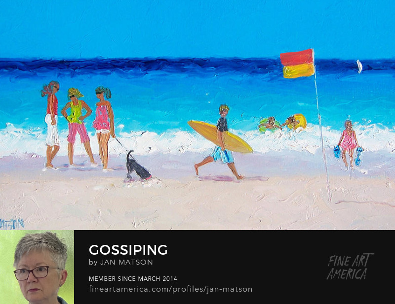 A beach painting of three girls chatting and a boy with his surf board.
