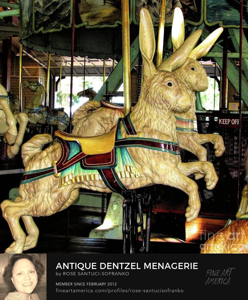 Antique Dentzel Menagerie Carousel Rabbits In Rochester New York