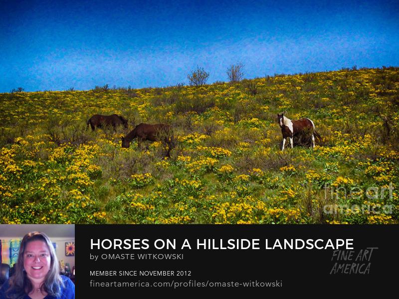 Horses On A Hillside Landscape